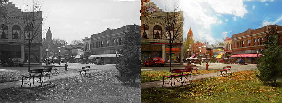 City - Marengo IA - The final leaves of Autumn 1939 - Side by Si by Mike Savad
