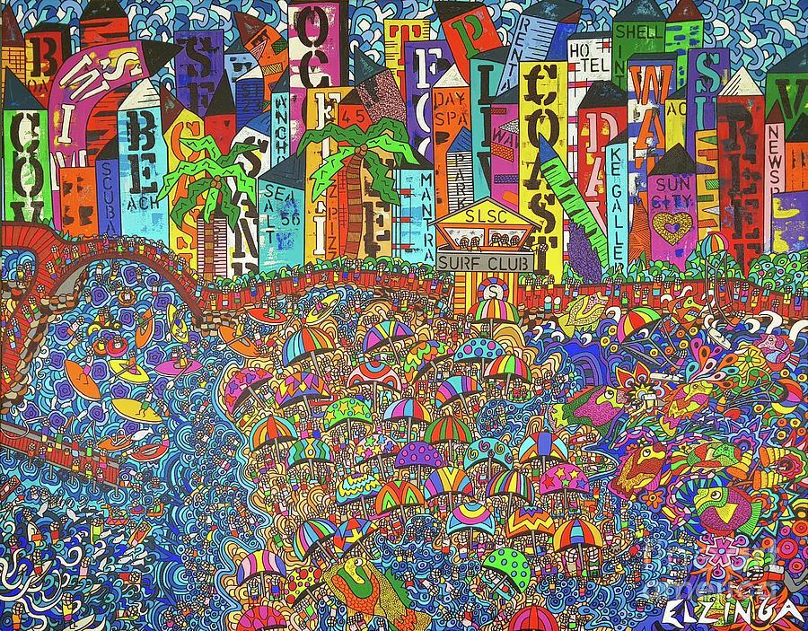 Houses Painting - City Meets The Bay by Karen Elzinga