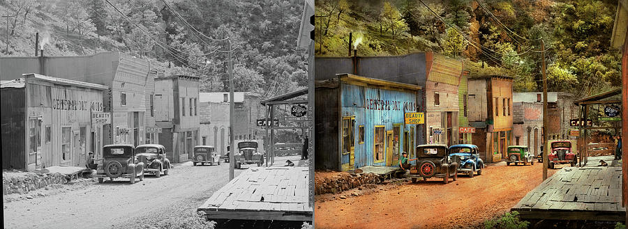 City - Mogollon NM - Before the ghosts 1940 - Side by Side by Mike Savad
