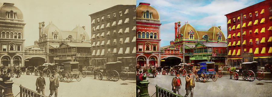 City - NY - The Grand Central Depot 1890 - Side by Side by Mike Savad