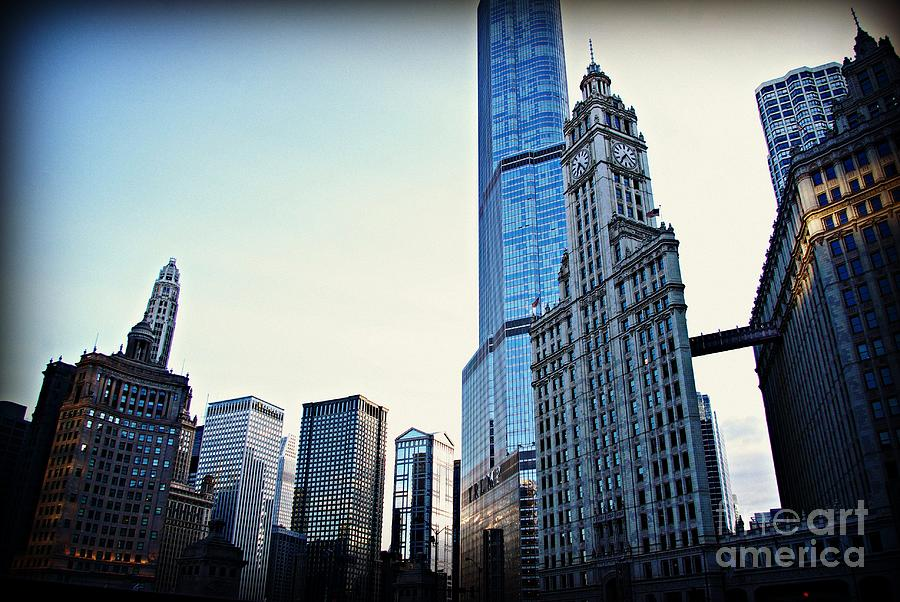 Urban Landscape Photograph - City of Chicago - Skyscrapers at Golden Hour Sunset by Frank J Casella