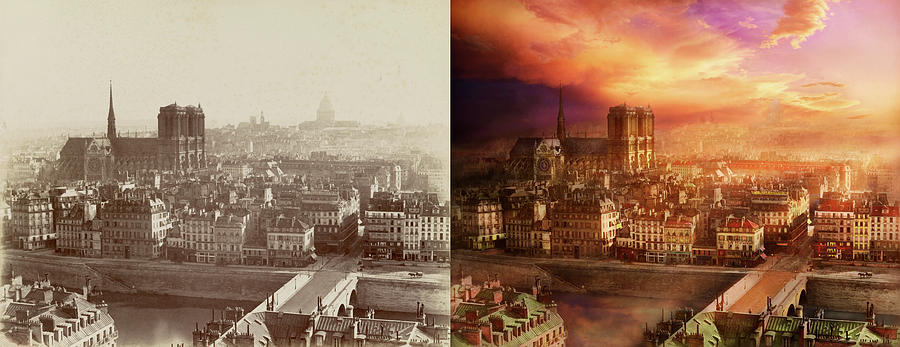 City - Paris France - Notre-Dame Cathedral 1865 - Side by Side by Mike Savad