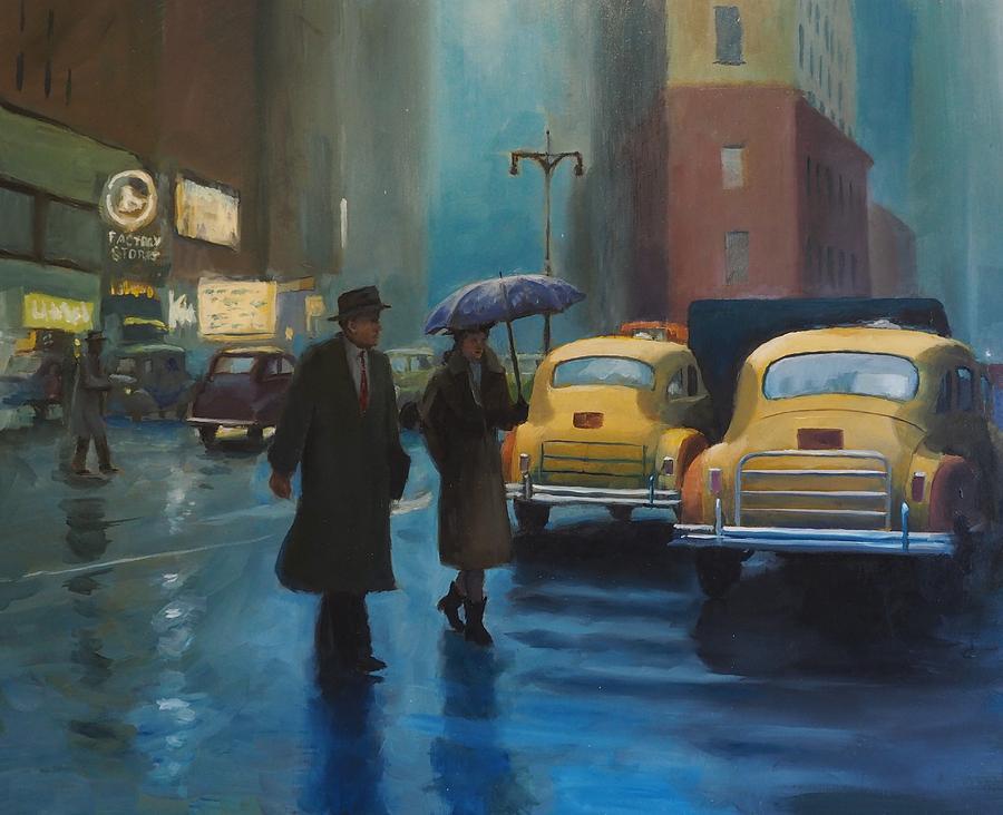Rainy Painting - City Rain by Drew Thurston