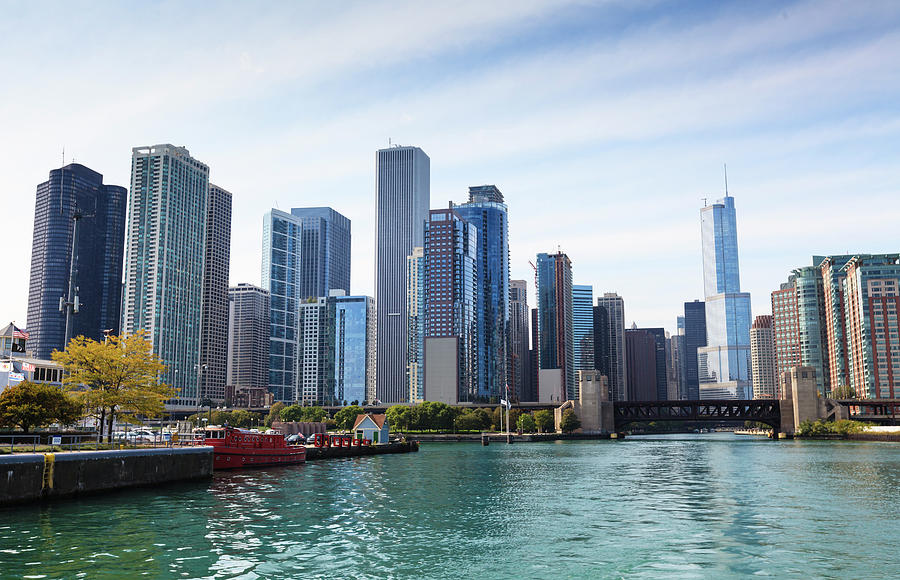 City Skyline From The Chicago River Photograph by Amanda Hall / Robertharding