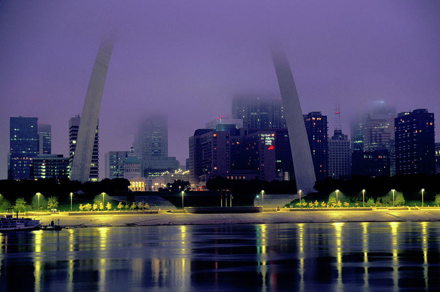City Skyline In Fog, With Gateway Arch Photograph by John Elk Iii