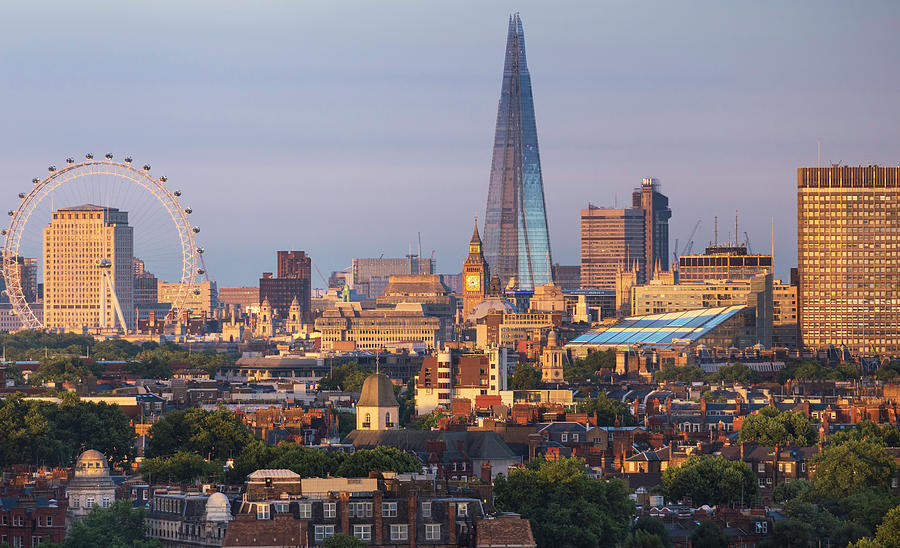 City Skyline In Late Evening Sunlight Photograph by Simon Butterworth