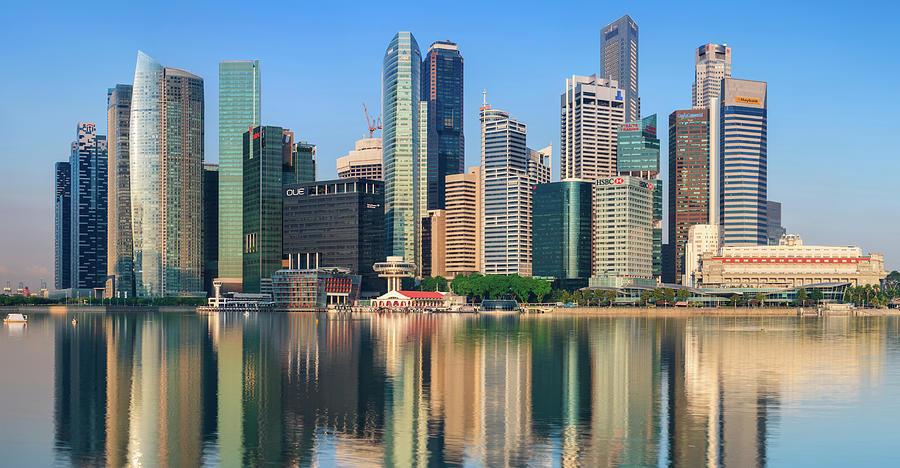 City Skyline - Singapore After Sunrise Photograph by Hadynyah