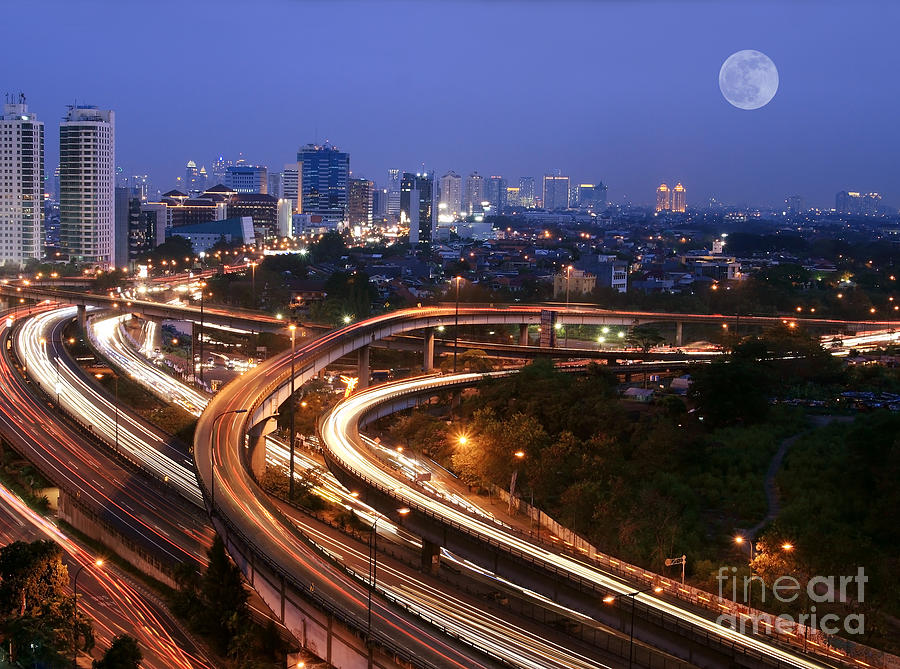 Bus Photograph - City Skyline With Multiple Flyovers by Hywit Dimyadi