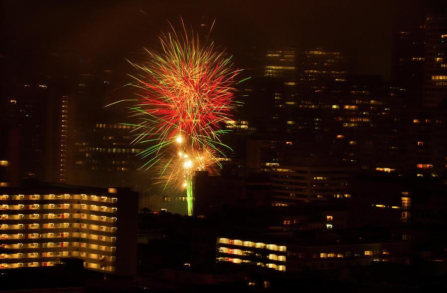 City Splash Fireworks by Bonnie Follett