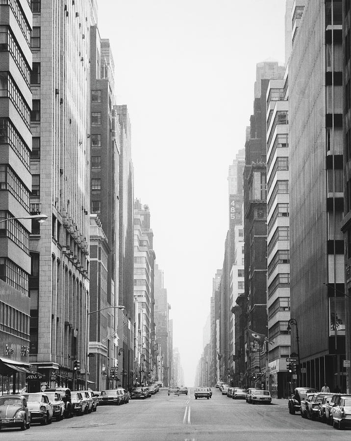City Street And Buildings B&w Photograph by George Marks