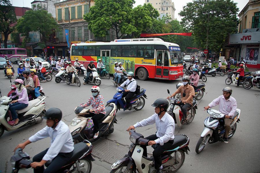 City Traffic At Rush Hour, Hanoi Photograph by Grant Faint