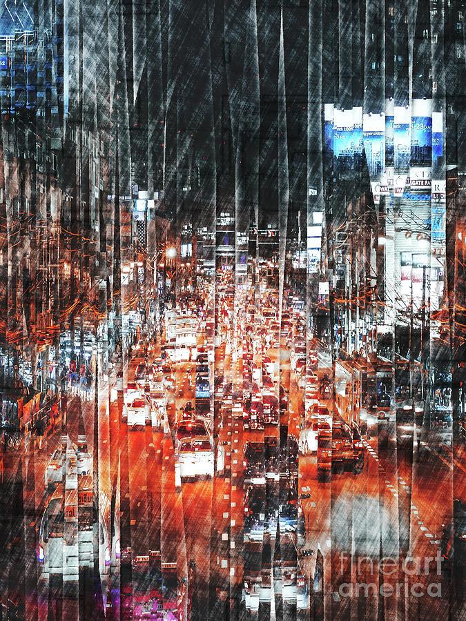 Traffic Digital Art - City Traffic by Phil Perkins
