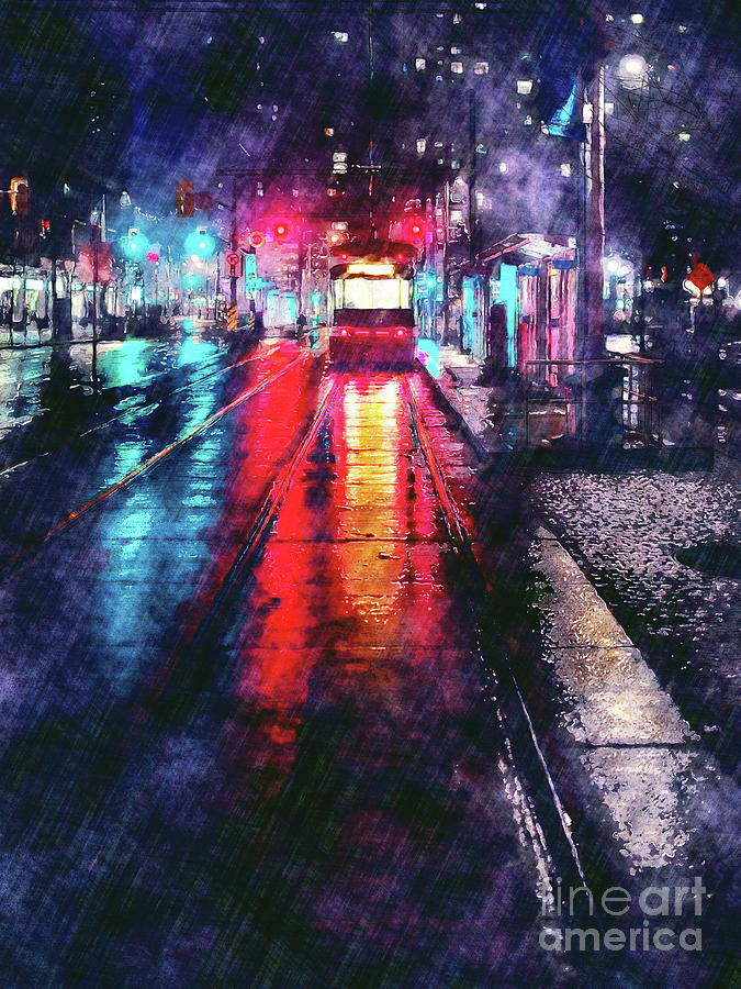 City Trolley In Night Rain by Phil Perkins