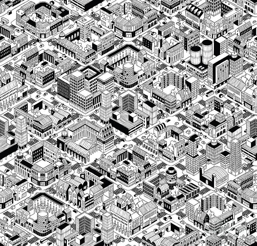Interactive Digital Art - City Urban Blocks Seamless Pattern by Vook