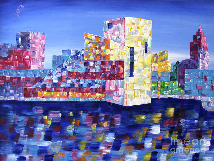 Downtown Painting - Cityscape Cleveland by JoAnn DePolo