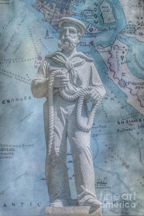 Civil War Sailor Statue on Map by Randy Steele