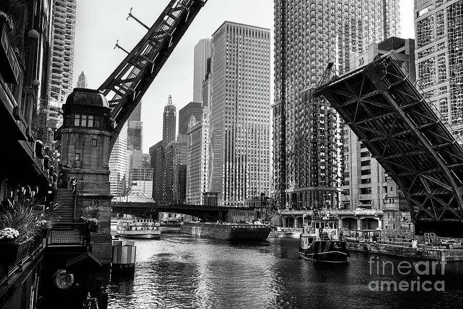 Clark Street Bridge Raised Over Chicago Photograph by Stevegeer