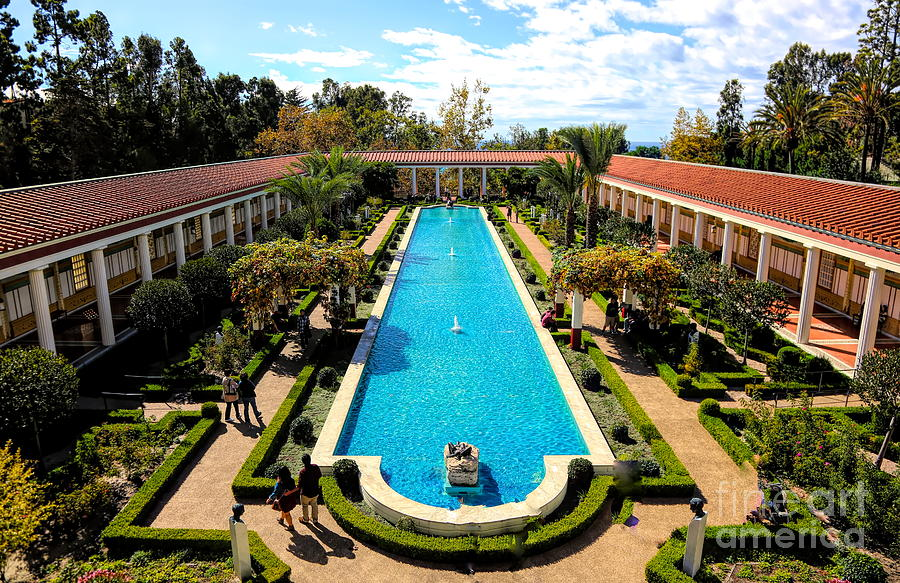 Getty Photograph - Classic Awesome J Paul Getty Architectural View Villa  by Chuck Kuhn
