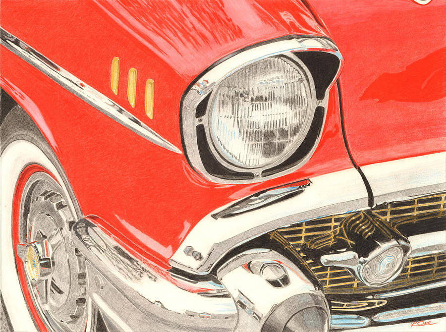 Classic Car Drawing - Classic Car Close Up by Raymond Ore