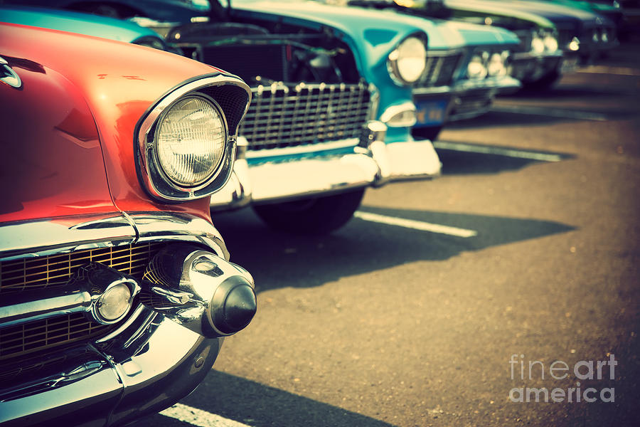 Steel Photograph - Classic Cars In A Row by Topseller
