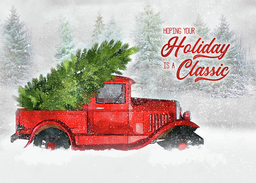 Vintage Red Truck Christmas Decor.Classic Holiday Vintage Red Truck
