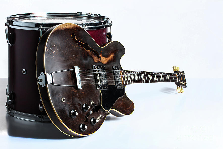 Classic Light Gibson Guitar Image with Drum 1744.006 by M K Miller