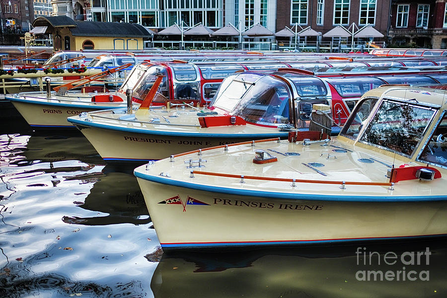 Classic Motorboats Lined Up by George Oze