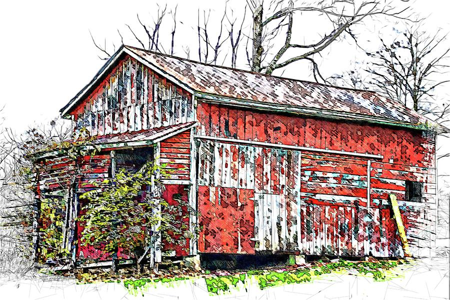 Classic Old Red Barn by Alice Gipson