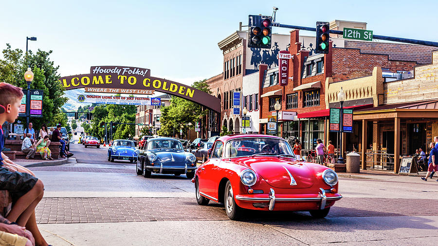 Classic Porsches through Downtown Golden, Colorado by Jeanette Fellows