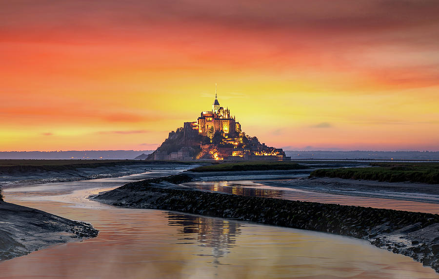 Classic view of famous Le Mont Saint Michel tidal island  by Anek Suwannaphoom