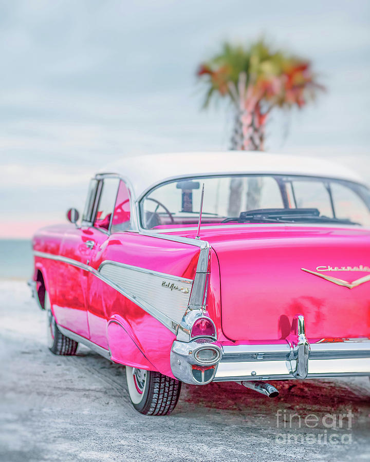 50s Photograph - Classic Vintage Pink Chevy Bel Air  8x10 Scene by Edward Fielding