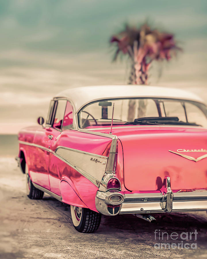 50s Photograph - Classic Vintage Pink Chevy Bel Air Galaxy500  by Edward Fielding