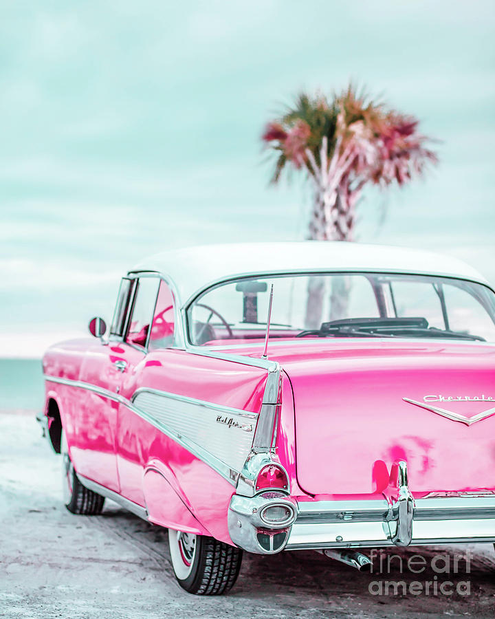 50s Photograph - Classic Vintage Pink Chevy Bel Air Jap5  by Edward Fielding