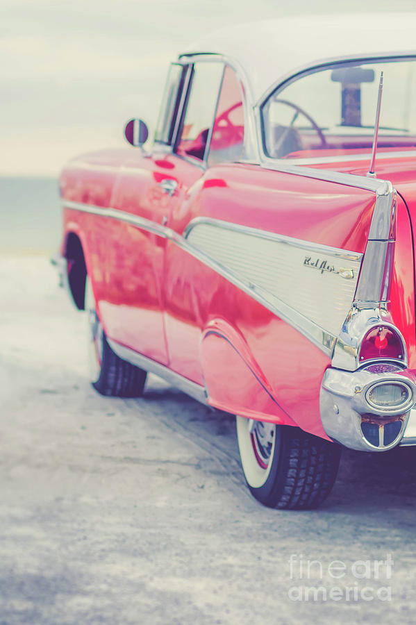 50s Photograph - Classic Vintage Pink Chevy Bel Air Tumble by Edward Fielding