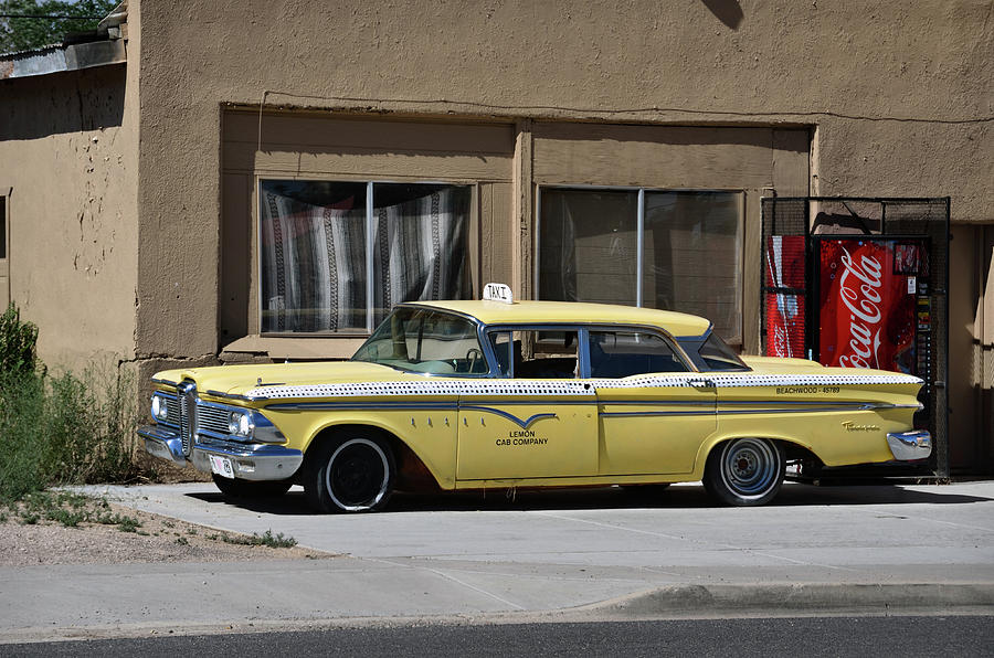 Classic yellow Edsel taxi in Seligman Route 66 by RicardMN Photography