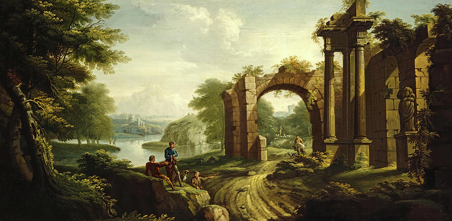 Classical Landscape Painting - Classical Landscape With Architecture, 1736 by James Norie senior
