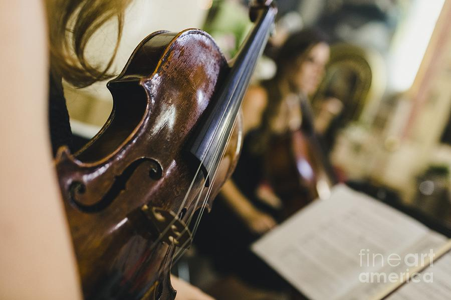 Classical Musicians Hold Their Musical Instrument, A Violin, Whi Photograph