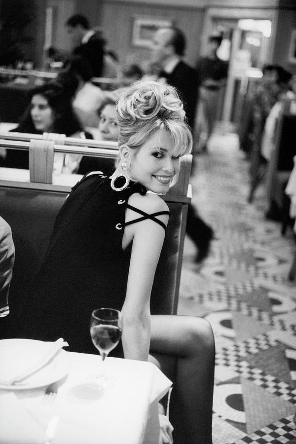 Claudia Schiffer in Bill Blass Dress Photograph by Arthur Elgort