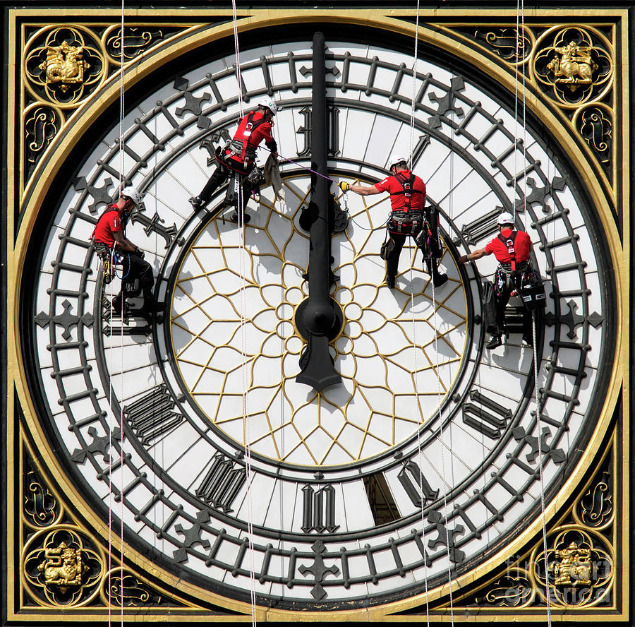 Cleaning Of Big Bens Clock Face Photograph by Oli Scarff