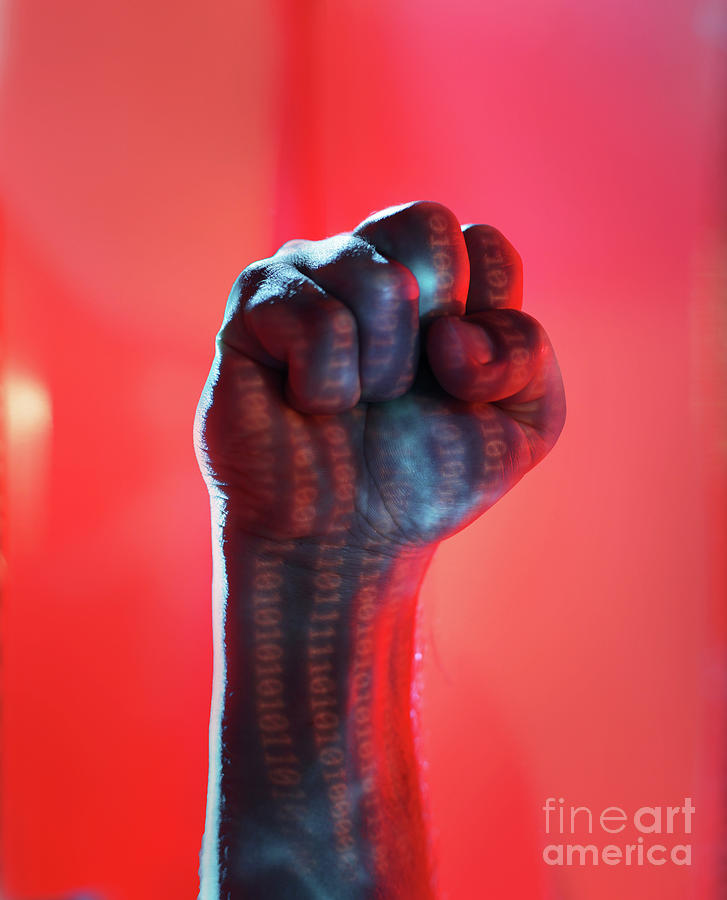 Clenched Fist Lit By Binary Code Photograph by Stanislaw Pytel