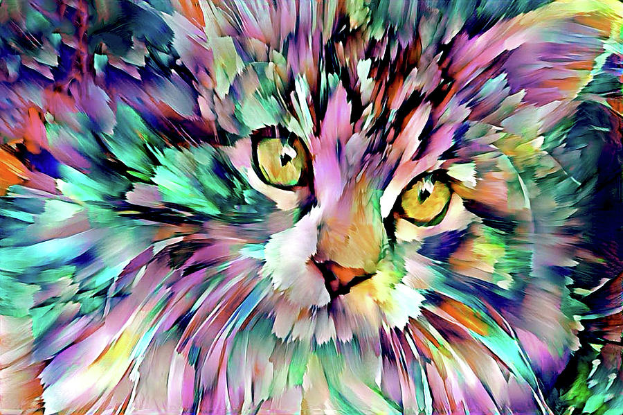 Cleo the Maine Coon Cat - Blue Version by Peggy Collins