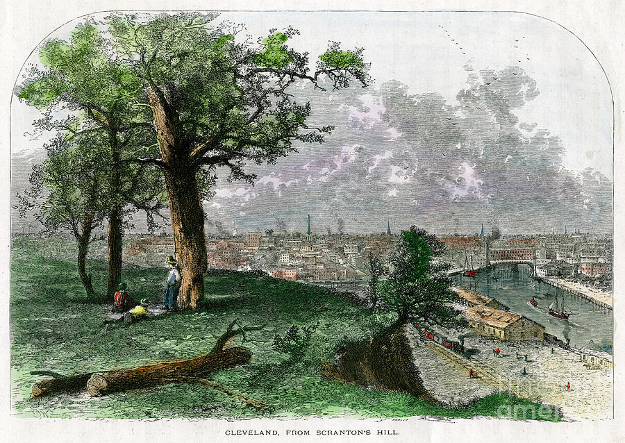 Cleveland, From Scrantons Hill, Ohio Drawing by Print Collector