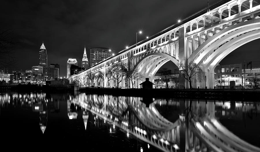 Cleveland High Res Black and white Veteran's Memorial Bridge Reflections by Clint Buhler