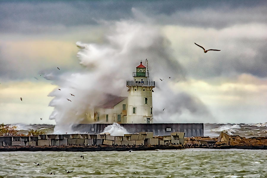 Cleveland Lighthouse Storm  by Richard Kopchock