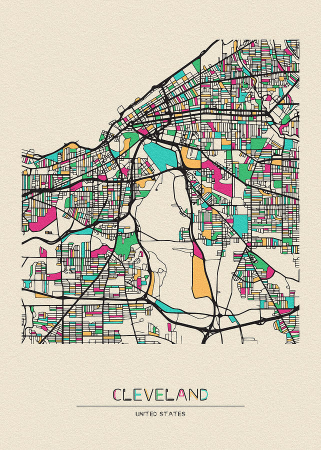 Cleveland, Ohio City Map by Inspirowl Design