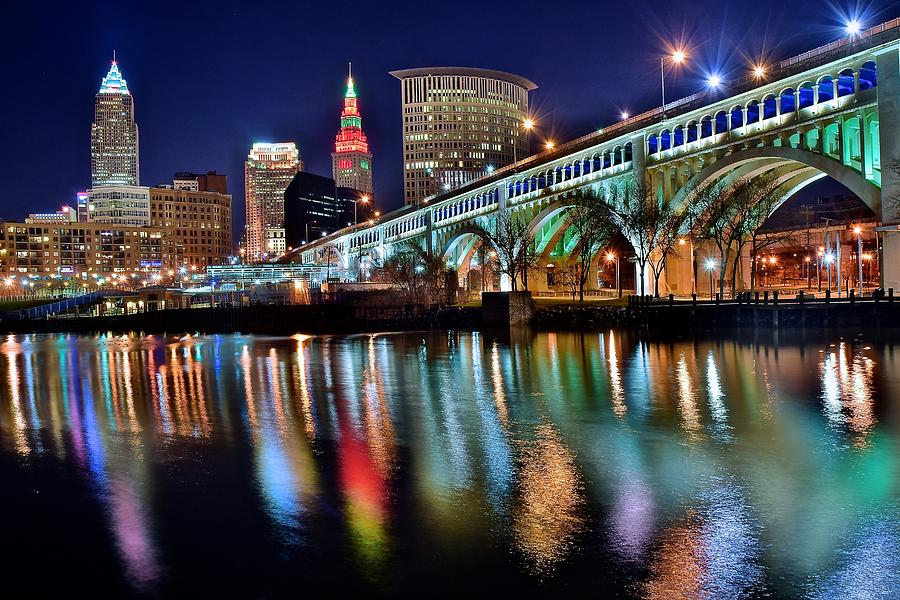 Cleveland Skyline Photograph - Cleveland Ohio Skyline Reflects Colorfully by Frozen in Time Fine Art Photography