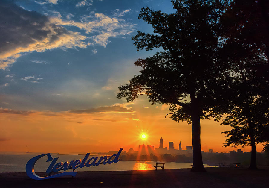 Sunrise Photograph - Cleveland Sign Sunrise by Richard Kopchock