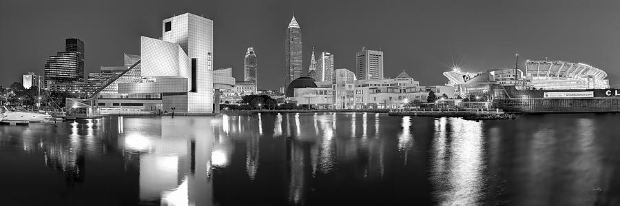 Cleveland Skyline At Dusk Black And White Rock Roll Hall Fame Photograph