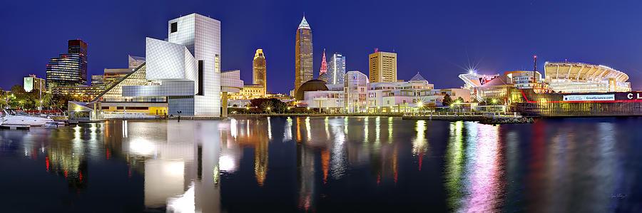 Cleveland Skyline Photograph - Cleveland Skyline at Dusk Rock Roll Hall Fame by Jon Holiday