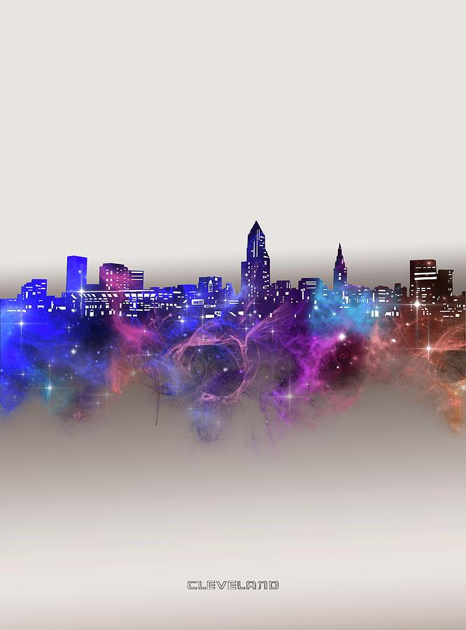 Cleveland Digital Art - Cleveland Skyline Galaxy by Bekim M